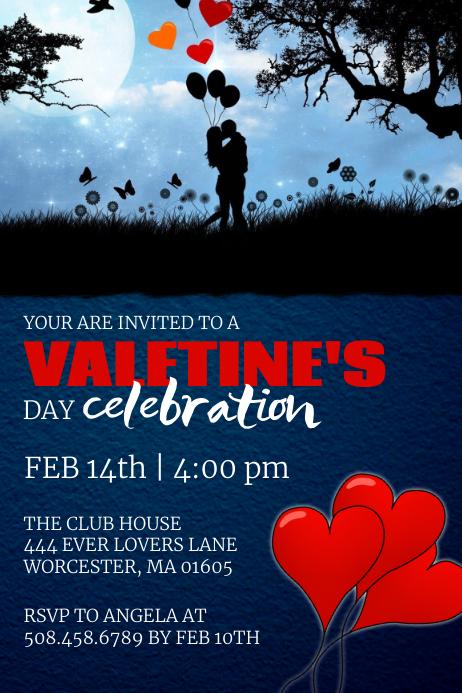 Valentine's Day Celebration Invitation ป้าย template