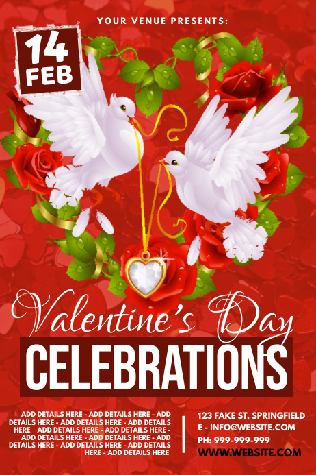 Valentine's Day Celebrations Poster template