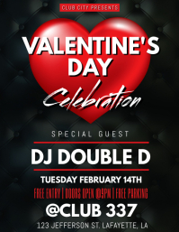 VALENTINE'S DAY CLUB FLYER TEMPLATE Løbeseddel (US Letter)