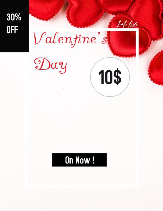 Valentine's Day Løbeseddel (US Letter) template