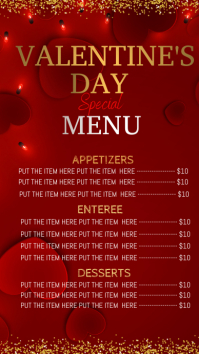 Valentine's day dinner menu digital display template