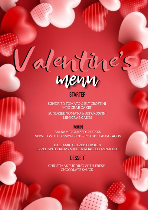 VALENTINE'S DAY DINNER MENU FLYER TEMPLATE A4