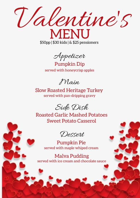 valentine's day DINNER MENU template A4