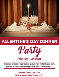 Valentine's day dinner party flyer ad