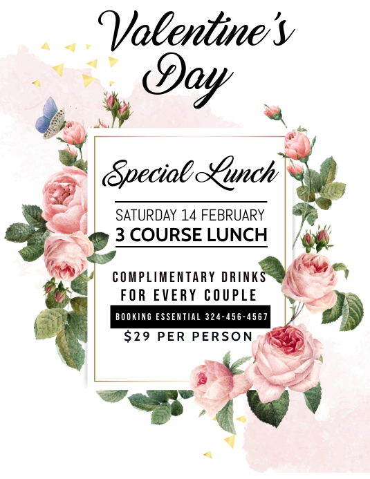 Valentine's day lunch menu Pamflet (Letter AS) template