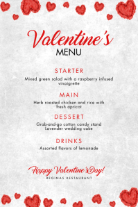 Valentine's Day Menu Template Affiche
