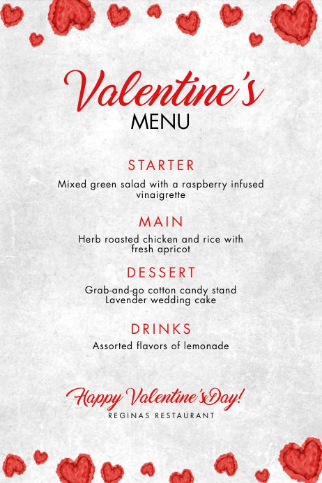 Valentine's Day Menu Template Plakat
