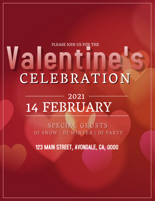 VALENTINE'S DAY party event ad template Løbeseddel (US Letter)