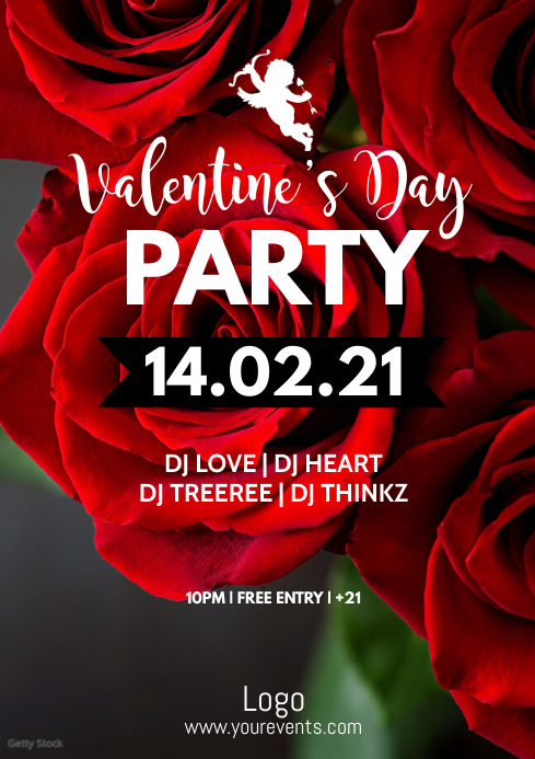 valentine's Day Party Event Amor Rose Advert A4 template