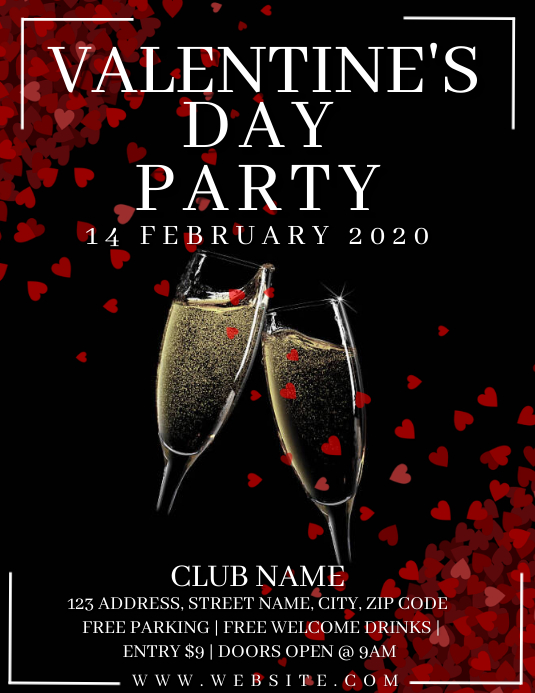 Valentine's day Party Event Flyer Template ใบปลิว (US Letter)