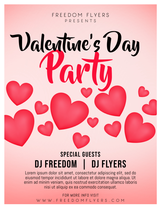 Valentine's Day Party Flyer Template Løbeseddel (US Letter)