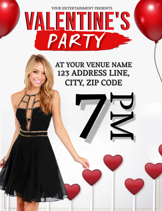 VALENTINE'S DAY Party Night Flyer Template Løbeseddel (US Letter)