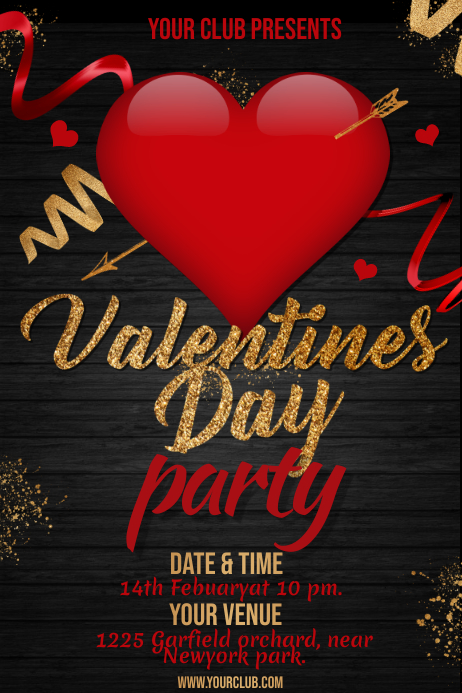 valentine's day party poster Póster template