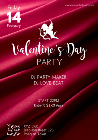 Valentine's Day Party Red Satin Flyer Poster A4 template