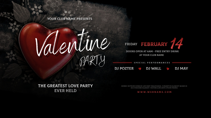 Valentine's Day Party Twitter Post template