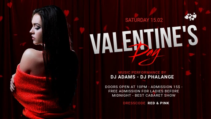 Valentine's Day Party Video Ad Template Facebook-covervideo (16:9)