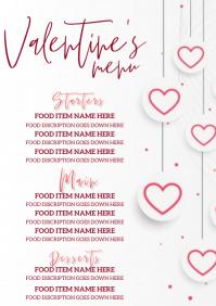 valentine's day restaurant dinner menu templa A4 template