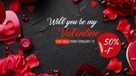 Valentine's Day Sale Banner Ad Video copertina Facebook (16:9) template