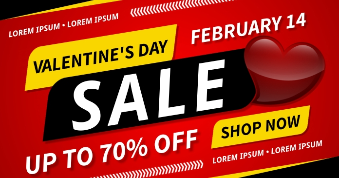 VALENTINE'S DAY SALE BANNER Facebook 共享图片 template