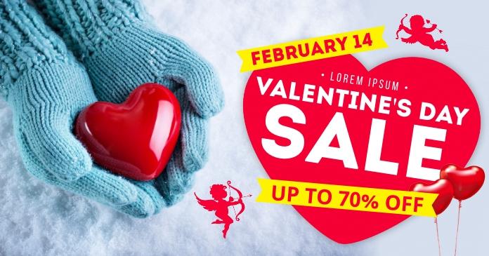 VALENTINE'S DAY SALE BANNER delt Facebook-billede template