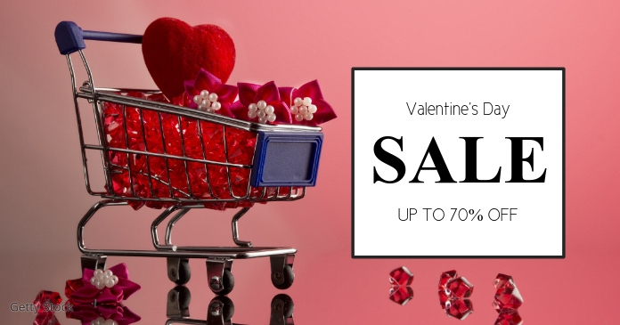 Valentine's Day sale Cover Advert Cart Heart