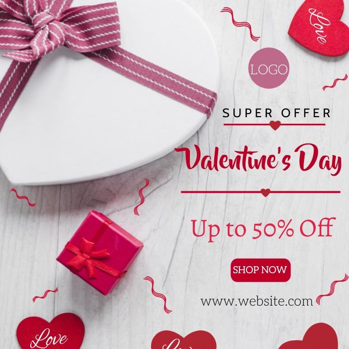 Valentine's day sale Instagram-opslag template