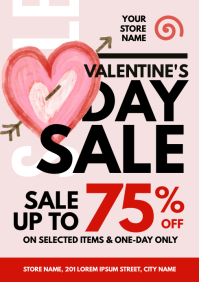 Valentine's Day Sale Flyer A4 template