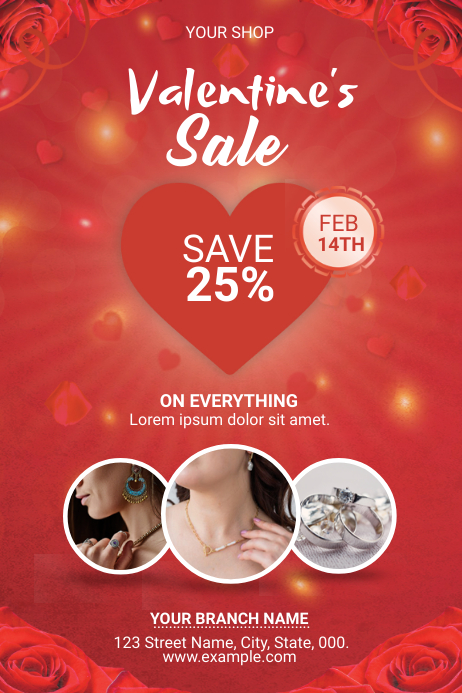 Valentine's Day Sale Flyer Label template