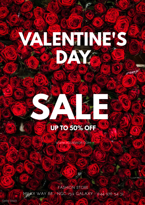Valentine's Day Sale flyer poster roses shop