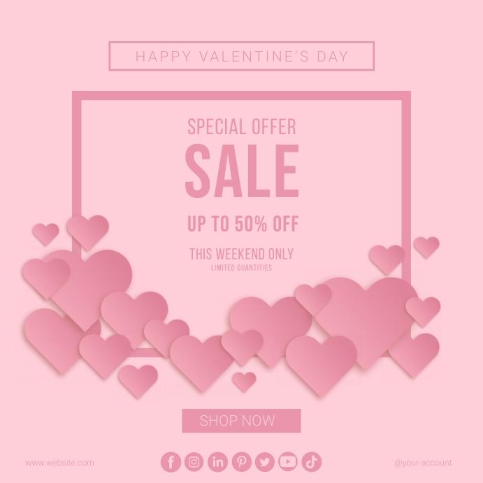 Valentine's day sale instagram post template