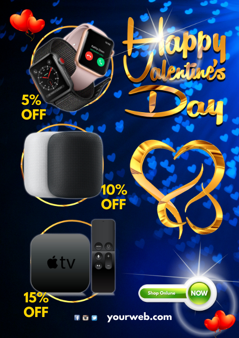 Valentine's Day Sale Poster A4 template