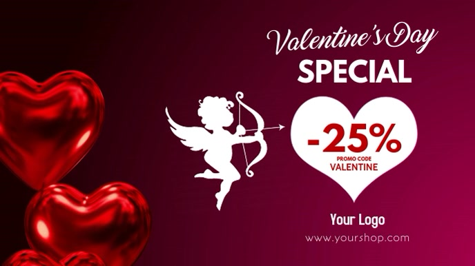 Valentine's Day Sale Video Heart Balloons ad Digital na Display (16:9) template