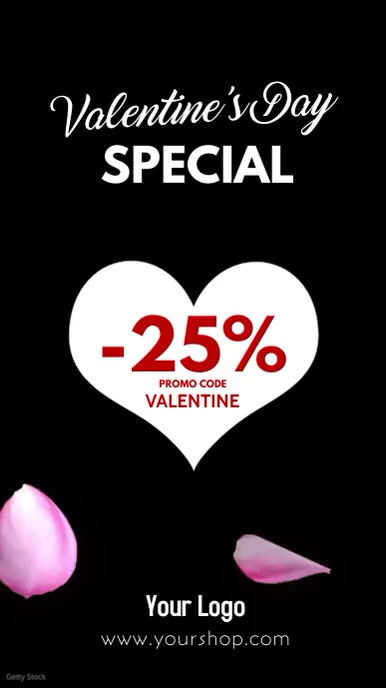 Valentine's Day Sale Video Roses story ad template