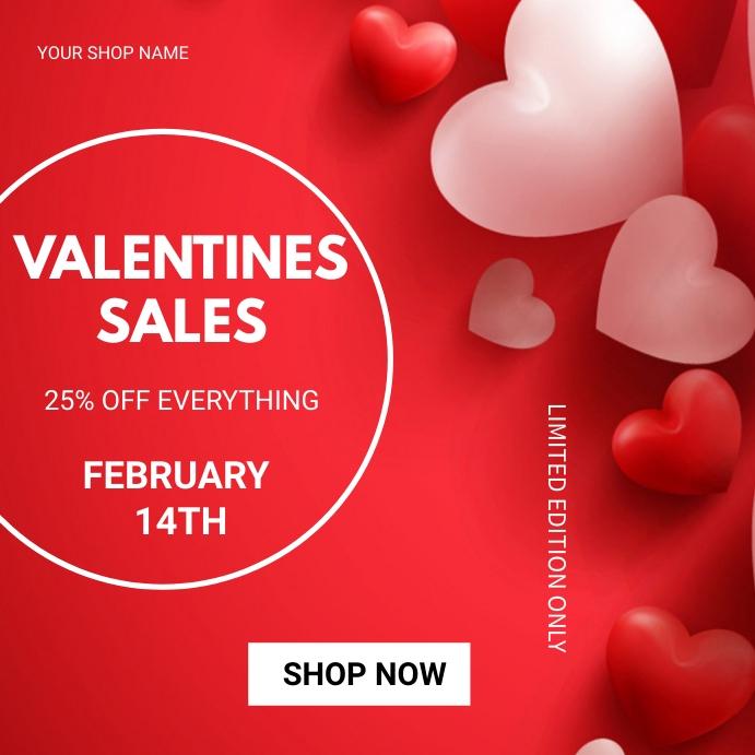 Valentine's day sales โพสต์บน Instagram template