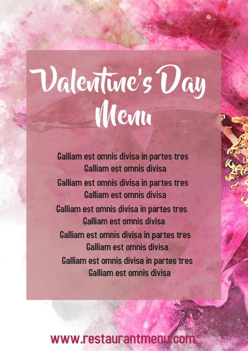 Valentine's day special menu A4 template