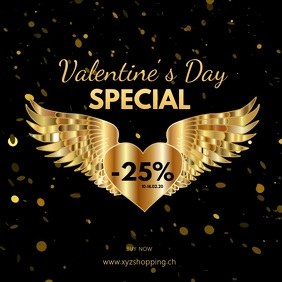 Valentine's Day Special Video Advert Gold Ad Квадрат (1 : 1) template