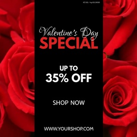 Valentine's Day Special Video roses Red Offer Instagram Post template