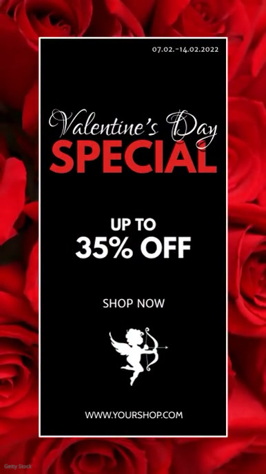 Valentine's Day Special Video roses Red Offer Instagram Story template
