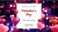 Valentine's daya video ads Digitalt display (16:9) template