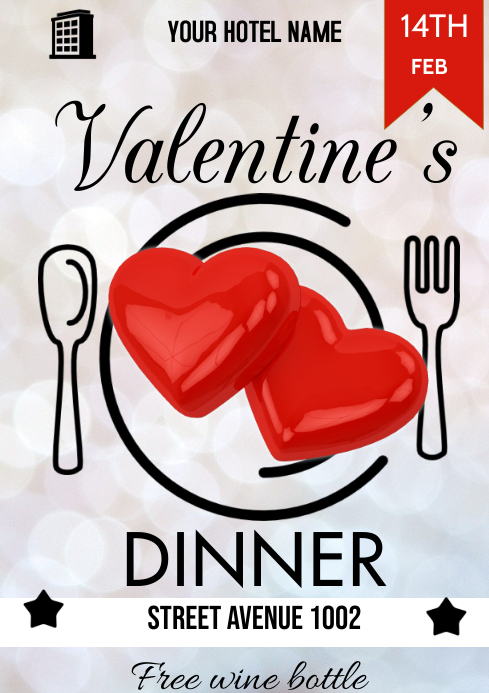 valentine's dinner A3 template