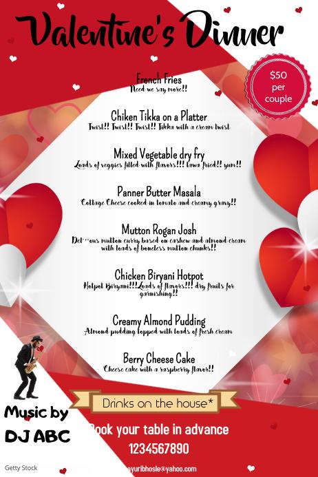 Valentine's Dinner 横幅 4' × 6' template