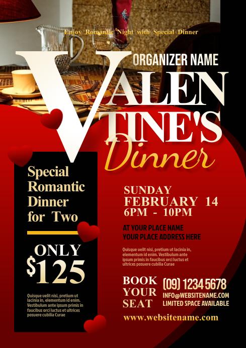 Valentine's Dinner Flyer A4 template