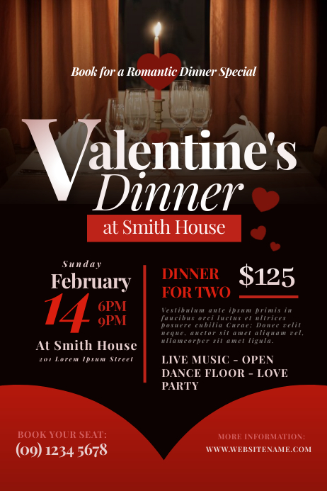 Valentine's Dinner Flyer Poster template