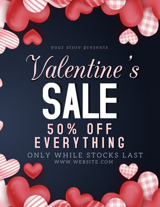 valentine's discount SALE event TEMPLATE Flyer (Letter pang-US)