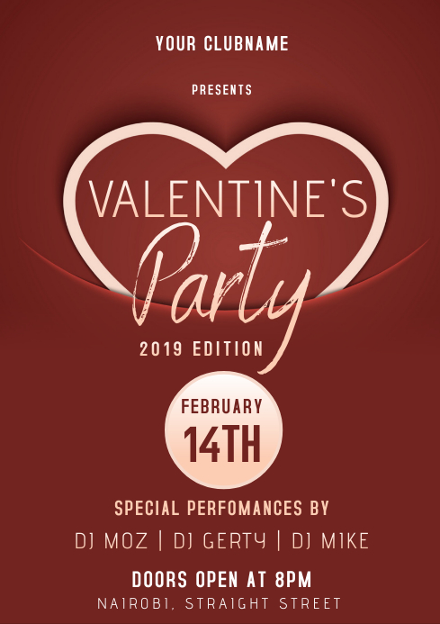 VALENTINE's flyer template A3