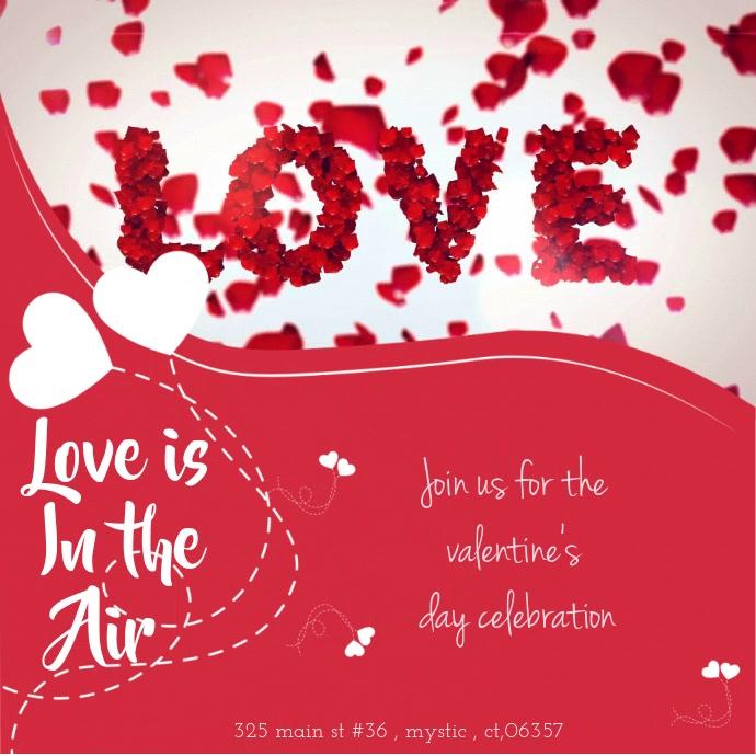 valentine's gift voucher online card Carré (1:1) template