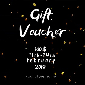 valentine's gift voucher online card Square (1:1) template