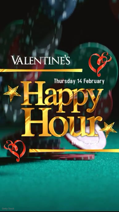 Valentine's Happy Hour Display digitale (9:16) template