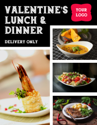 Valentine's Lunch and Dinner Delivery Flyer template