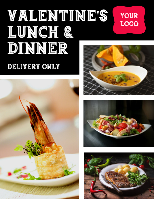 Valentine's Lunch and Dinner Delivery Flyer ใบปลิว (US Letter) template